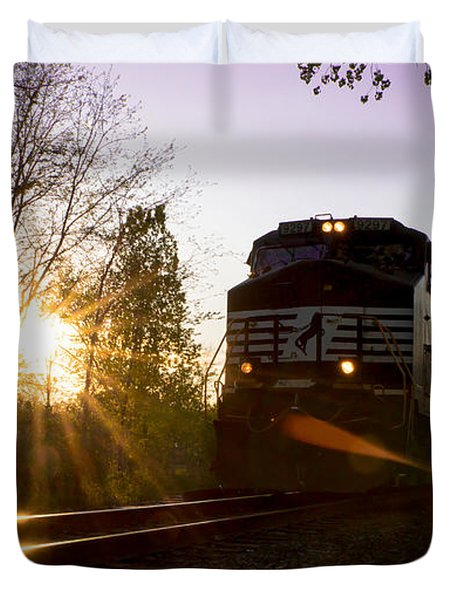 Norfolk And Southern At Sunset Duvet Cover