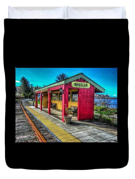 Duvet Cover featuring the photograph Norm Laknes Train Station by Thom Zehrfeld