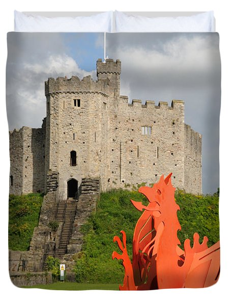 Duvet Cover featuring the photograph Norman Keep Cardiff Castle by Jeremy Voisey