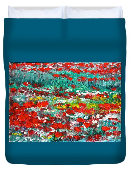Normandy Poppy Field Dreams I Duvet Cover
