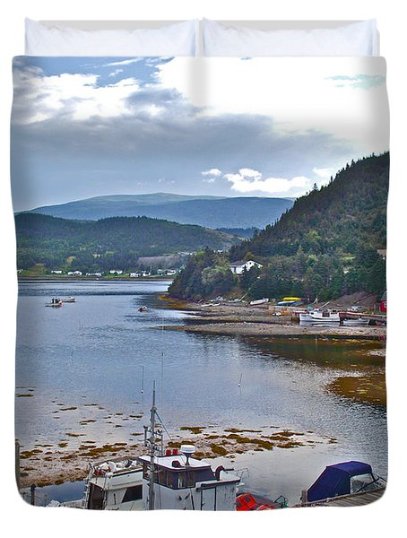 Norris Point Dock In Gros Morne Np-nl Duvet Cover
