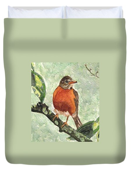Duvet Cover featuring the painting North American Robin by Angela Davies