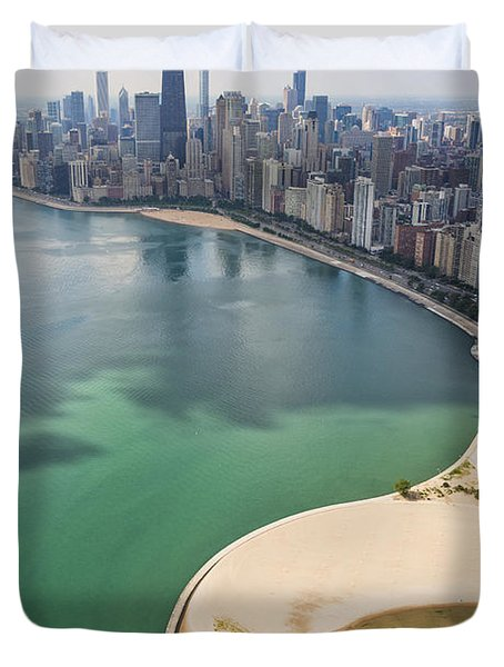 North Avenue Beach Chicago Aerial Duvet Cover by Adam Romanowicz