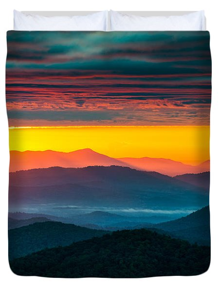 North Carolina Blue Ridge Parkway Morning Majesty Duvet Cover