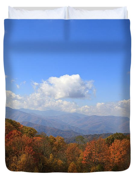 North Carolina Mountains In The Fall Duvet Cover
