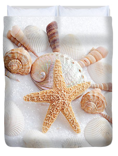 North Carolina Sea Shells Duvet Cover