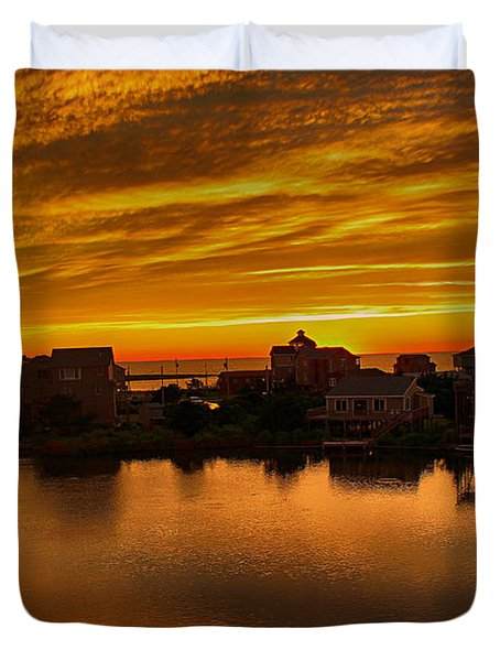 North Carolina Sunset Duvet Cover by Tony Cooper