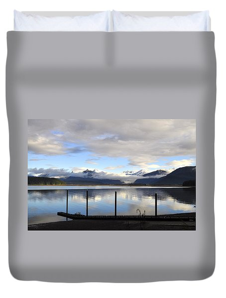 Duvet Cover featuring the photograph North Douglas Reflections by Cathy Mahnke