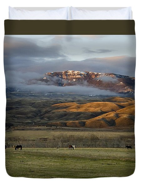 North Fork Pasture-signed Duvet Cover by J L Woody Wooden