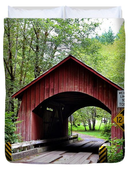 North Fork Yachats Covered Bridge Duvet Cover