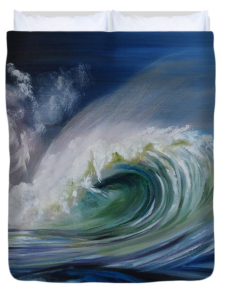 Duvet Cover featuring the painting North Shore Curl by Donna Tuten