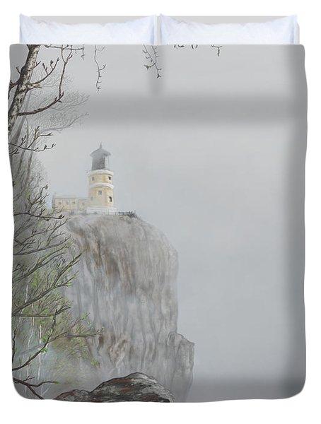 North Shore Lighthouse In The Fog Duvet Cover