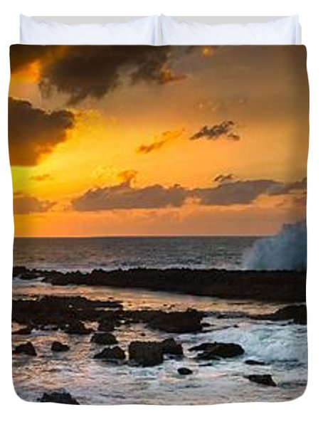 North Shore Sunset Crashing Wave Duvet Cover