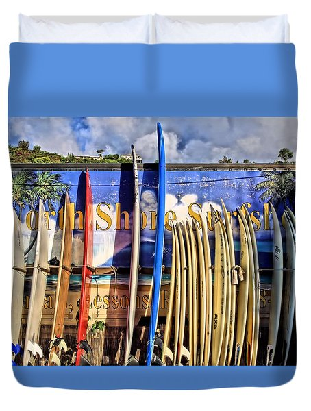 North Shore Surf Shop Duvet Cover