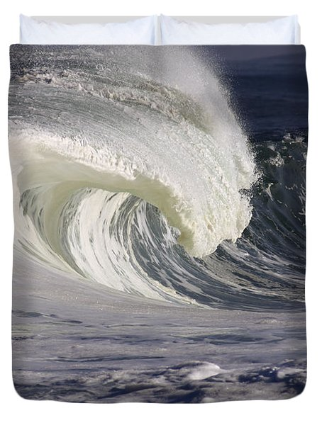 North Shore Wave Curl Duvet Cover by Vince Cavataio