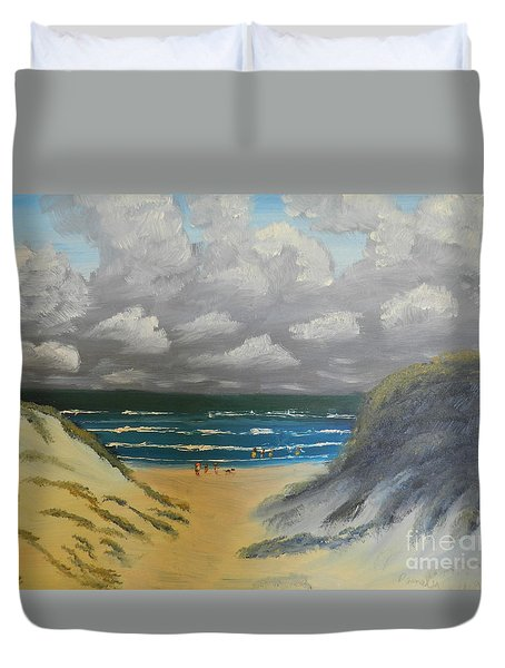 Duvet Cover featuring the painting North Windang Beach by Pamela  Meredith
