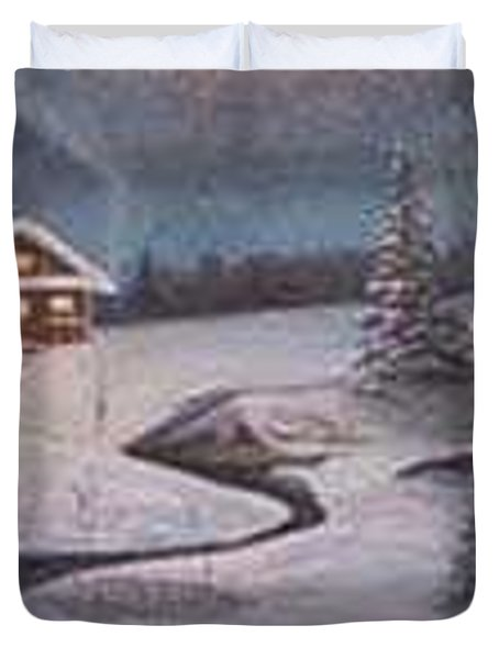 North Woods Cabin Duvet Cover by Rick Huotari