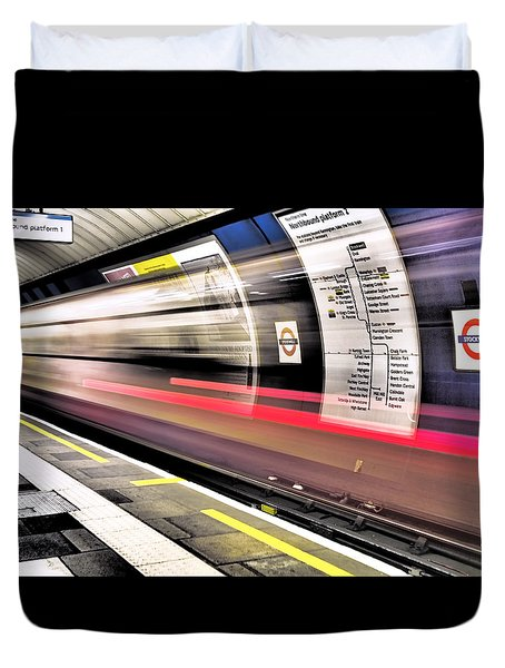 Duvet Cover featuring the photograph Northbound Underground by Rona Black