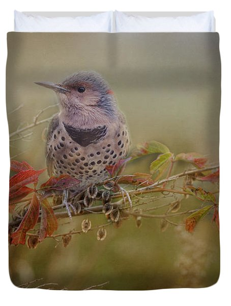 Northern Flicker In Fall Colors Duvet Cover