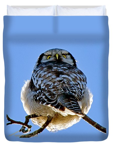 Northern Hawk Owl Looks Around Duvet Cover by Torbjorn Swenelius