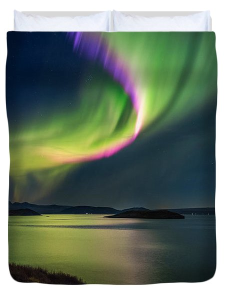 Northern Lights Over Thingvallavatn Or Duvet Cover