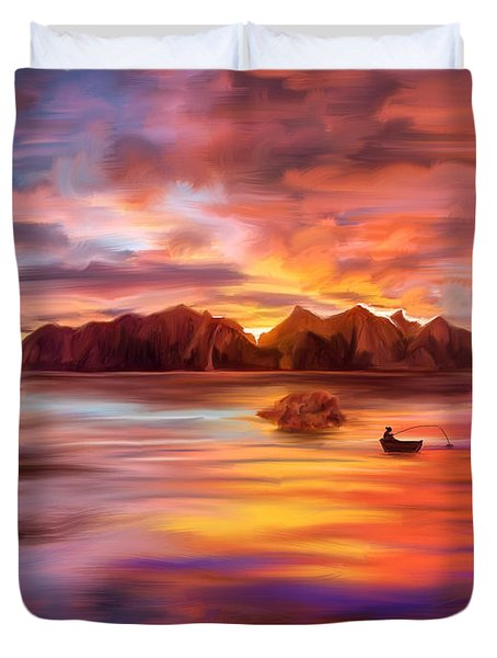 Northern Norway - Ipad Version Duvet Cover by Angela A Stanton