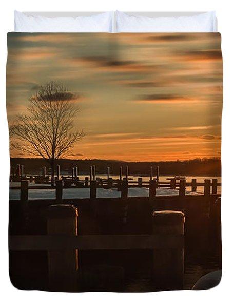 Northport New York Winter Sunset Duvet Cover