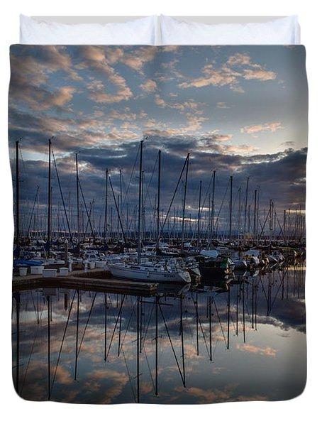 Northwest Marina Sunset Sunstar Duvet Cover by Mike Reid