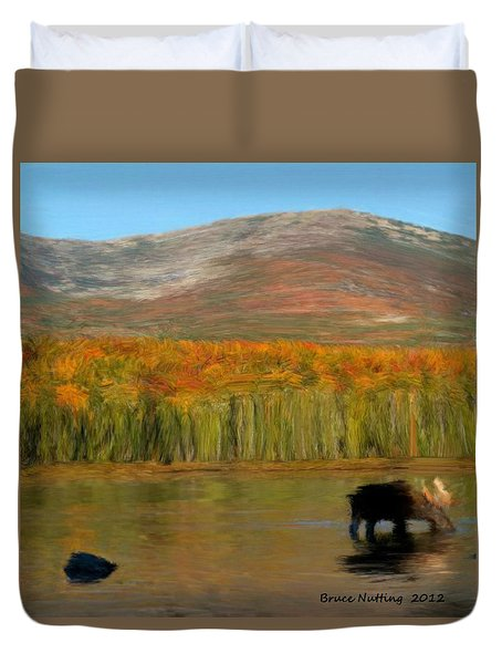 Duvet Cover featuring the painting Northwest Moose by Bruce Nutting