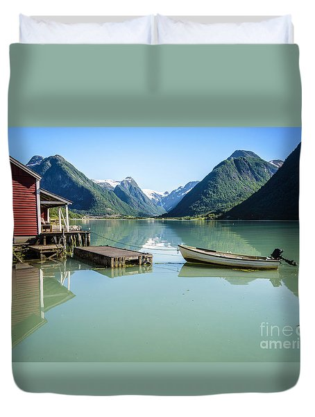Reflection Of A Boat And A Boathouse In A Fjord In Norway Duvet Cover