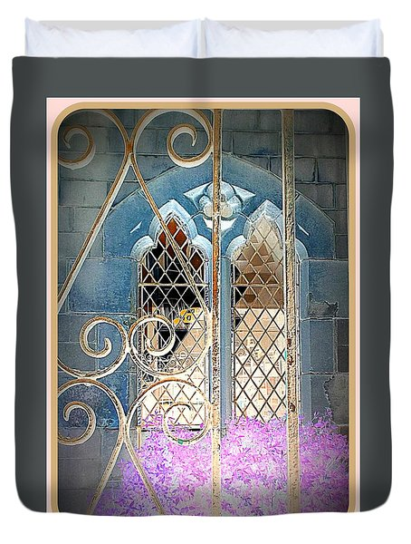 Nostalgic Church Window Duvet Cover by The Creative Minds Art and Photography