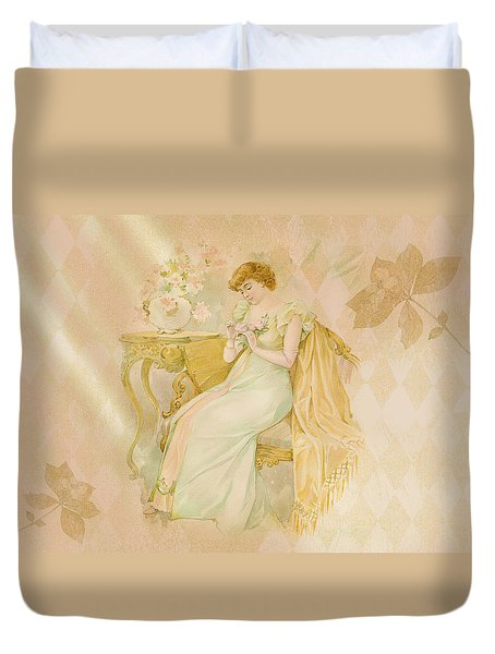 Duvet Cover featuring the digital art Nostalgic Contemplation by Sandra Foster