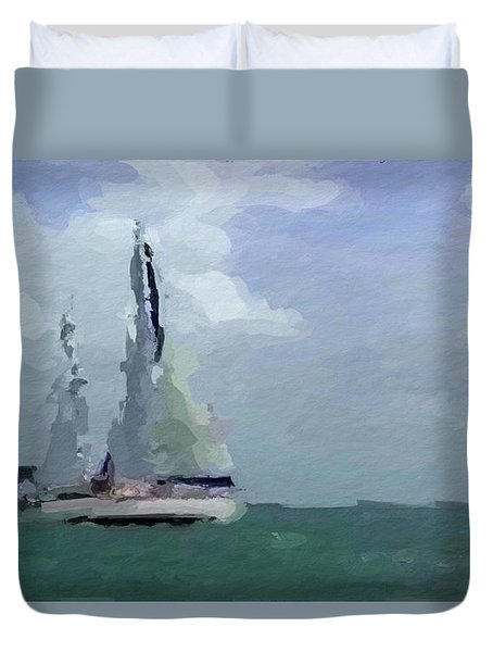 Duvet Cover featuring the mixed media Not Far From Paradise by Anthony Fishburne