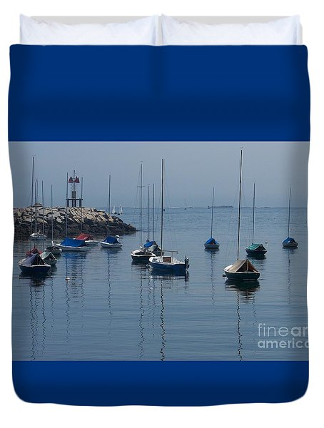 Duvet Cover featuring the photograph Sail Boats  by Eunice Miller