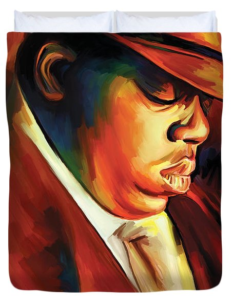 Notorious Big - Biggie Smalls Artwork Duvet Cover by Sheraz A