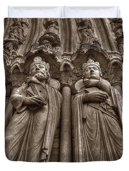 Notre Dame Facade Detail Duvet Cover