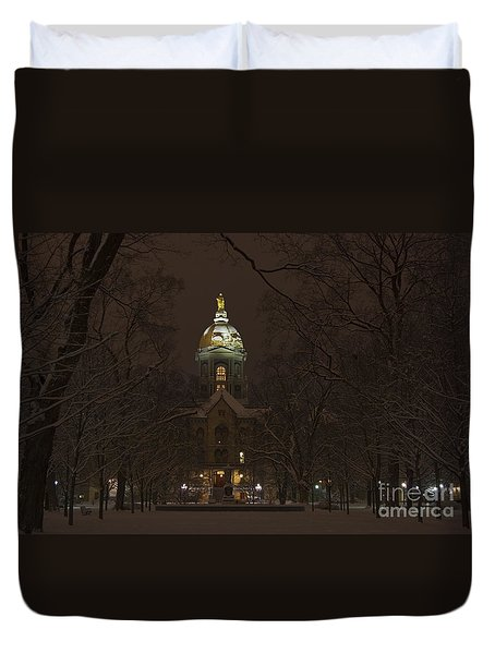 Notre Dame Golden Dome Snow Duvet Cover