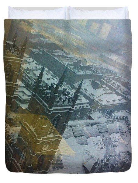 Notre Dame On The Vertical Duvet Cover by Valerie Rosen