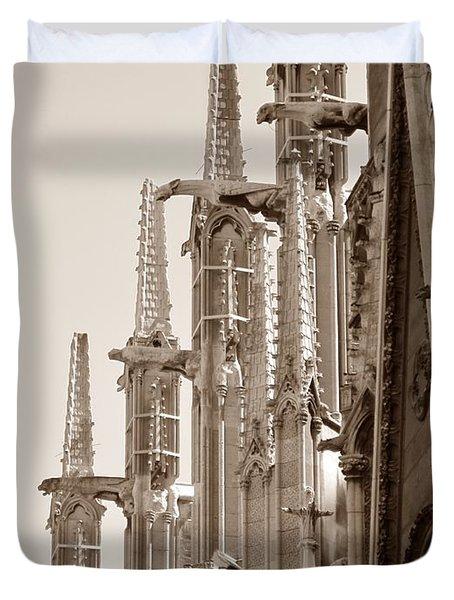 Notre Dame Sentries Sepia Duvet Cover