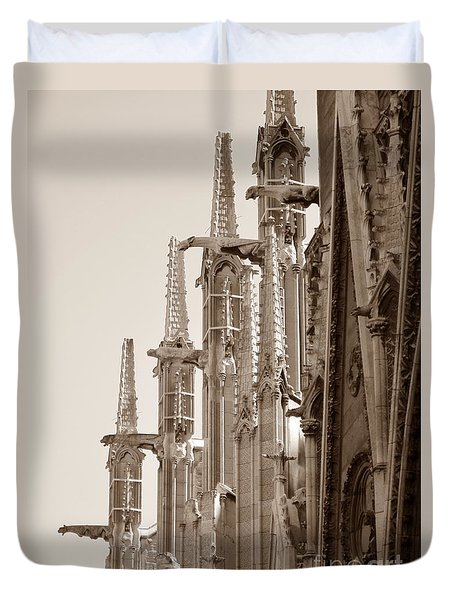 Notre Dame Sentries Sepia Duvet Cover by HEVi FineArt