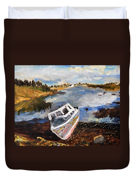 Nova Scotia Fishing Boat Duvet Cover