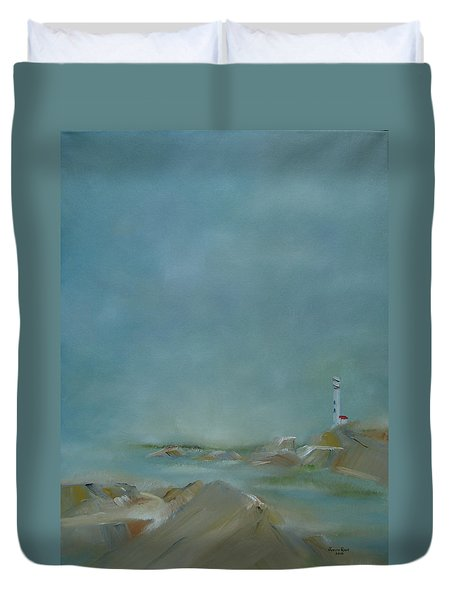 Duvet Cover featuring the painting Nova Scotia Fog by Judith Rhue