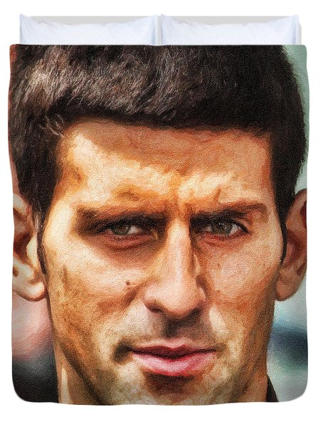 Novak Djokovic Duvet Cover by Nishanth Gopinathan