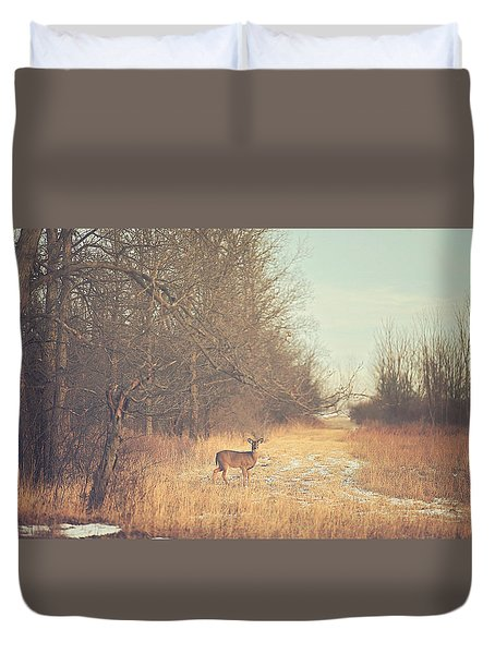 November Deer Duvet Cover by Carrie Ann Grippo-Pike