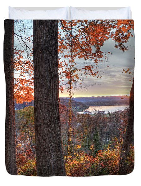 November Morning At The Lake Duvet Cover