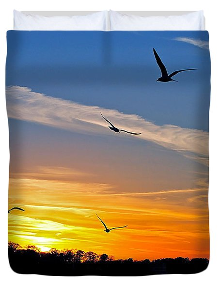 November Sunset Ia Duvet Cover by Frozen in Time Fine Art Photography