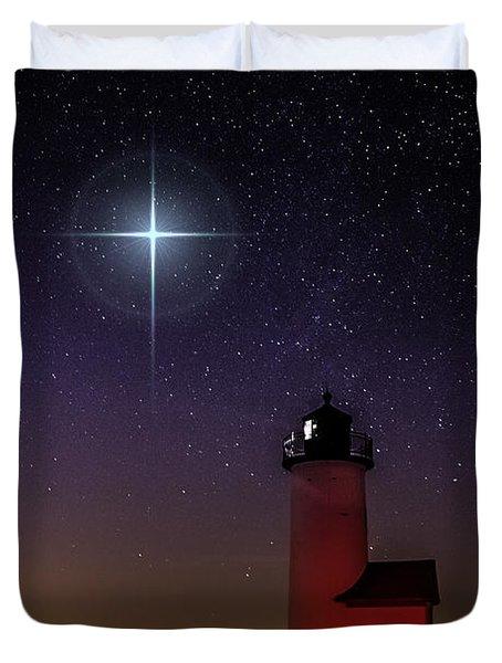 Star Over Annisquam Lighthouse Duvet Cover