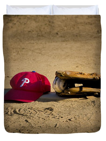 Now Pitching For The Phillies Duvet Cover by Bill Cannon