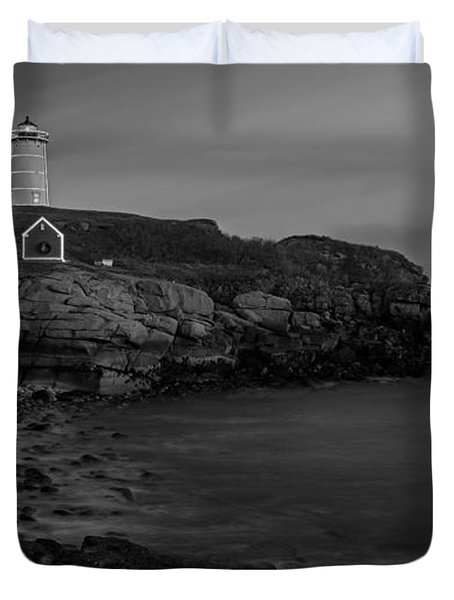 Nubble Light At Sunset Bw Duvet Cover by Susan Candelario