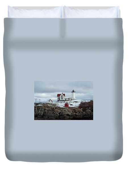 Duvet Cover featuring the photograph Nubble Light In December by Barbara McDevitt